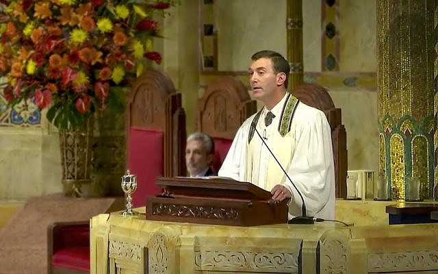 Rabbi Joshua Davidson delivering a High Holidays sermon at Temple Emanu-El in New York City, September 2017. (Courtesy of Temple Emanu-El)
