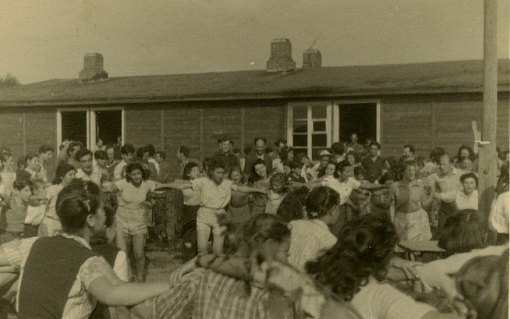 Jews dancing in a DP camp in Germany, September 1947. (Robert Gary/via JTA)