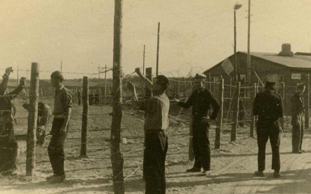 Jews repairing fencing at a DP camp in Germany, September 1947. (Robert Gary/via JTA)