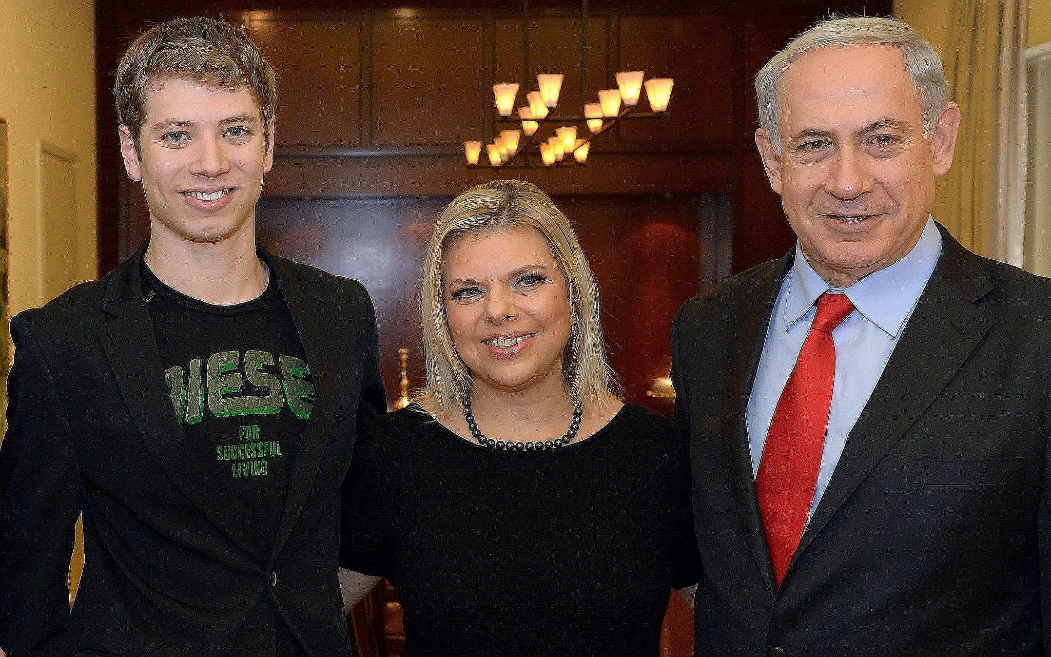 Israeli Prime Minister Benjamin Netanyahu, his wife Sara, and their son Yair during a meeting with Dutch Prime Minister Mark Rutte, not pictured, at Netanyahu's official residence in Jerusalem on December 8, 2013. (Haim Zach/GPO/Flash90)