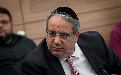 Shas MK Yigal Guetta is seen during a committee meeting at the Knesset on June 16, 2016. (Miriam Alster/Flash90)