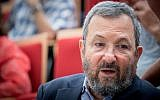 Former prime minister Ehud Barak attends a conference marking the 50th anniversary of the Six-Day War, at the Ben Zvi Institute in Jerusalem on June 5, 2017. (Yonatan Sindel/Flash90)