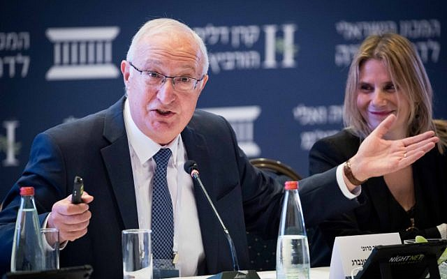 Zionist Union MK Manuel Trajtenberg attends a conference organized by Israel Democracy Institute in Jerusalem on July 25, 2016. (Yonatan Sindel/Flash90)
