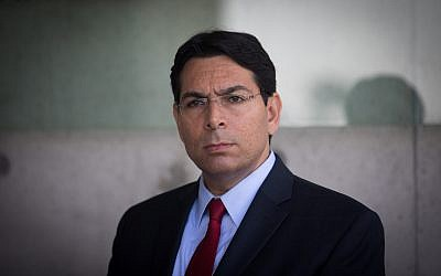 Israeli Ambassador to the UN Danny Danon, seen during a visit of UN Secretary General Antonio Guterres (unseen) at the Yad Vashem Holocaust Memorial in Jerusalem, August 28, 2017. (Yonatan Sindel/Flash90)