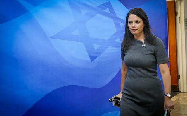 Justice Minister Ayelet Shaked arrives for the weekly cabinet meeting at the Prime Minister's Office in Jerusalem, September 3, 2017. (Marc Israel Sellem)