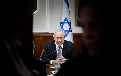 Prime Minister Benjamin Netanyahu leads the weekly cabinet meeting in Jerusalem on September 3, 2017 (Marc Israel  Sellem/POOL)