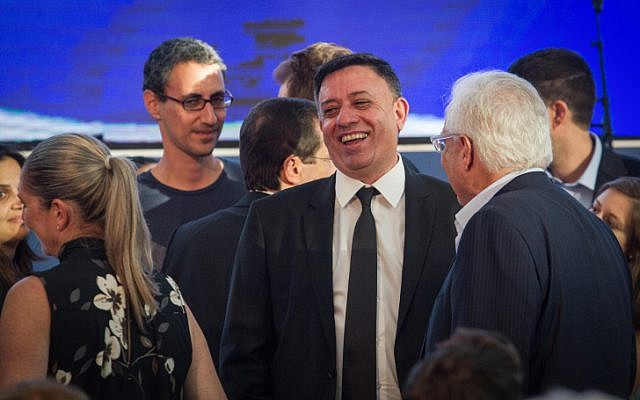 Labor party chairman Avi Gabbay attends a memorial ceremony marking 20 years since the passing of former President Chaim Herzog, at the Rabin Center in Tel Aviv, on September 7, 2017. (Flash90)