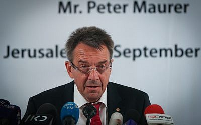 President of the International Committee of the Red Cross (ICRC) Peter Maurer at a press conference at the American Colony Hotel in East Jerusalem, September 7, 2017. (Yonatan Sindel/Flash90)