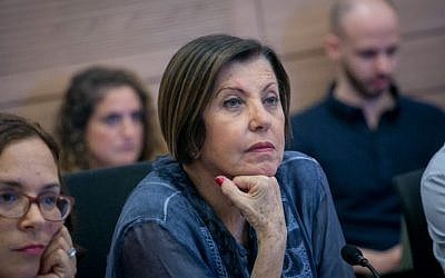 Meretz party chairwoman Zehava Galon seen during a finance committee meeting atthe Knesset on September 11, 2017. (Miriam Alster/FLASH90)