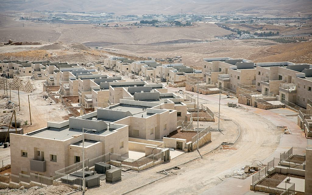 Illustrative: Construction of new housing in the Israeli settlement of Kfar Adumim, September 25, 2017. (Miriam Alster/Flash90)