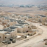 Construction of new housing in the Israeli settlement of Kfar Adumim, September 25, 2017. (Miriam Alster/FLASH90)