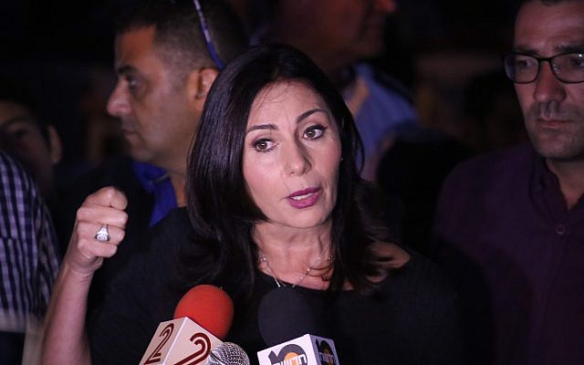 Culture Minister Miri Regev speaks with reporters prior to an event in Kfar Etzion celebrating celebrating 50 years of Israeli settlement in the West Bank and Golan Heights on September 27, 2017. (Gershon Elinson/Flash90)