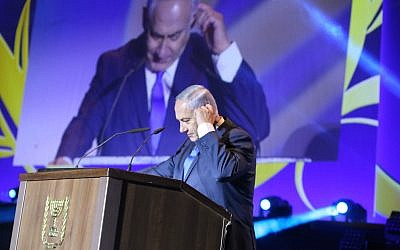 Prime Minister Benjamin Netanyahu speaks at an event celebrating celebrating 50 years of Israeli settlement in the West Bank and Golan Heights on September 27, 2017. (Hadas Parush/Flash90)