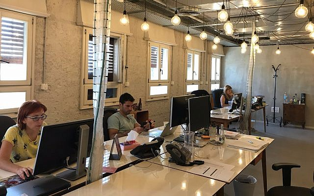 Fiverr employees at work in its Tel Aviv offices, August 6, 2017 (Shoshanna Solomon/Times of Israel)