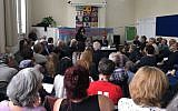 Anti-Israel fringe event at the UK Labour Party's annual conference, held by the group 'Free speech on Israel,' September 25, 2017. (WikiGuido)