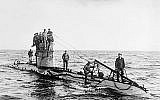 Undated photo of World War I-era German UC-1 submarine class with crew on the deck. (Public domain, Wikmedia commons)
