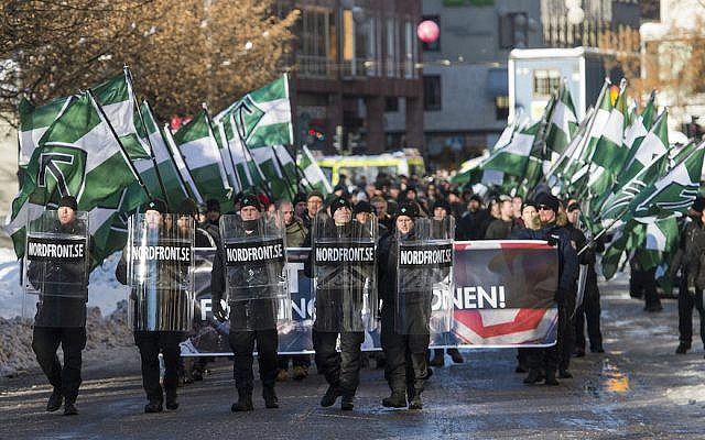Nordic Resistance Movement sympathizers participating in an anti-immigrant demonstration in central Stockholm, November 12, 2016. (Jonathan Nackstrand/AFP/Getty Images)