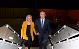 Prime Minister Benjamin Netanyahu (r) and his wife Sara board a plane to fly to Latin America for a 10-day state trip on September 10, 2017. (Raphael Ahren/Times of Israel)