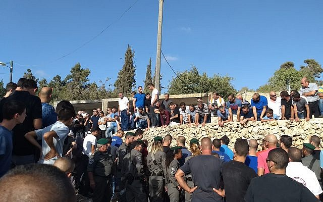 Mourners in Abu Ghosh attend the funeral of Yousef Othman, a security guard who was killed in a terror attack in Har Adar, on September 26, 2017. (Dov Lieber/Times of Israel)