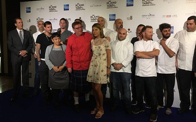 The collection of Israeli chefs and Round Table culinary festival organizers at a press conference launching the three-week chef event (Jessica Steinberg/Times of Israel)
