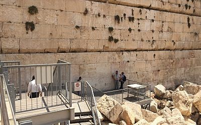 The Robinson's Arch pluralistic prayer area is currently on several levels, with a small platform that touches the Western Wall. (Amanda Borschel-Dan/ToI)