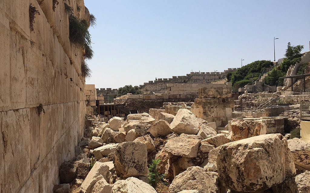 View of fallen Second Temple building blocks from the Robinson's Arch pluralistic prayer platform next to the Western Wall. (Amanda Borschel-Dan/ToI)