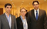 Leah and Simcha Goldin with Ambassador Danon at the UN, September 8, 2017 (Courtesy Israel mission to the UN)