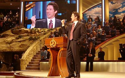 Joel Osteen, pastor of the nation's largest megachurch, preaches at Lakewood Church in Houston, Texas, where services are broadcast around the world. (Frank E. Lockwood/Lexington Herald-Leader/MCT)