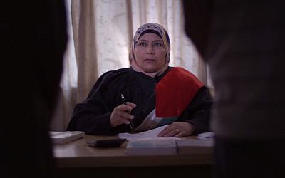 Palestinian Kholoud al-Faqih, who became the Middle East's first female sharia court judge, featured in the movie 'The Judge,' released September 11, 2017. (Screen capture: YouTube)