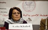 Convicted Palestinian terrorist Leila Khaled speaks at an event in Beirut in January 2009. (CC BY 2.0, Sebastian Baryli, Wikipedia)