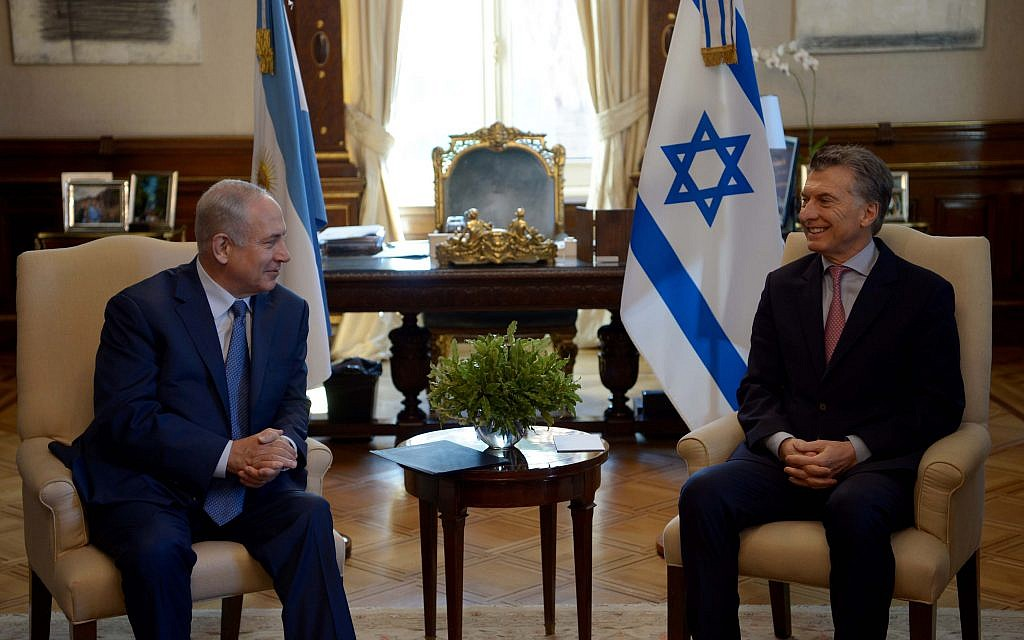 Prime Minister Benjamin Netanyahu meets with Argentine President Mauricio Macri on Tuesday, September 12, 2017 in Buenos Aires (Avi Ohayon/GPO)