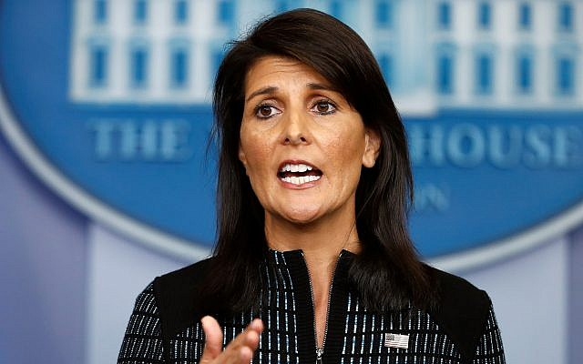 US Ambassador to the United Nations Nikki Haley speaks during a news briefing at the White House, in Washington, September 15, 2017. (AP/Carolyn Kaster)