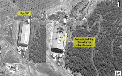 Israeli satellite images show results of an airstrike attributed to the IDF on a Syrian military weapons development base on September 7, 2017. (ImageSat International)