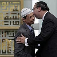 Rabbi Marc Schneier, right, and Imam Shamsi Ali (AP Richard Drew, via JTA)