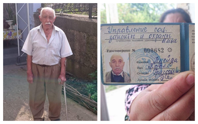 Pavel Preida, a Roma Holocaust survivor in Moldova, and the document that states he was an inmate in a concentration camp. (Courtesy Ion Duminica)