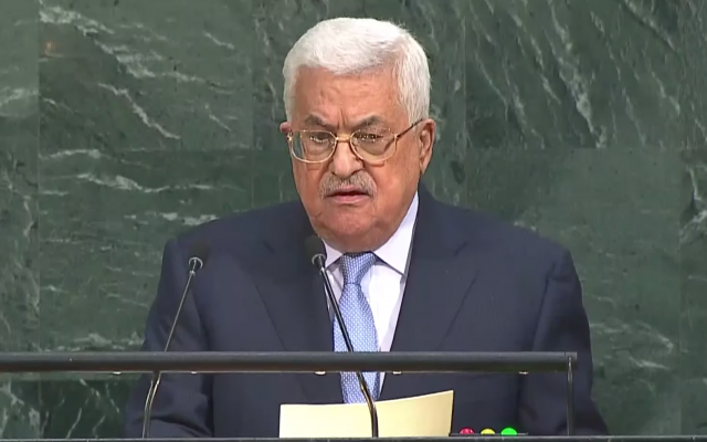 Mahmoud Abbas, Palestinian Authority president, addresses the 72nd UN General Assembly on September 20, 2017, at the United Nations in New York. (AFP PHOTO / ANGELA WEISS)