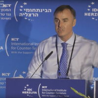 City of London Police Assistant Commissioner Alistair Sutherland speaks at a counterterrorism conference in Herzliya in September 2017. (Screen capture: IDC Herzliya)