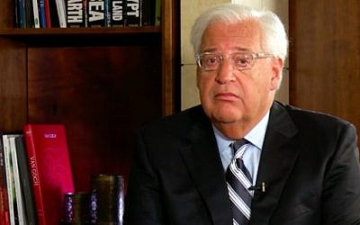 US Ambassador to Israel David Friedman during an interview with Walla News on September 28, 2017. (Screen capture/Walla News)