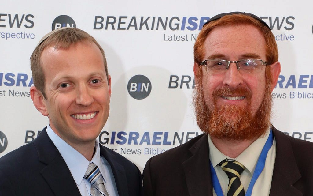 Rabbi Tuly Weisz (left) with MK Rabbi Yehuda Glick at Prophecy in the News Conference, Jerusalem, June 5, 2017 (Courtesy Israel365)