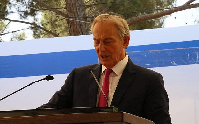 Former British prime minister Tony Blair speaks at the first state memorial in honor of Shimon Peres at Mount Herzl in Jerusalem, September 14, 2017. (Josef Avi Yair Engel)