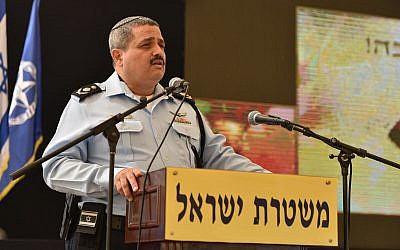 Police Commissioner Roni Alsheich speaking during a Rosh Hashanah reception at police headquarters in Jerusalem, September 18, 2017. (Israel Police)