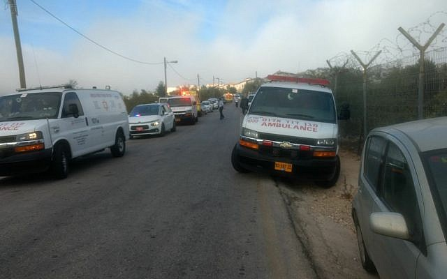 Emergency services respond to a suspected terror attack outside the Har Adar settlement near Jerusalem on September 26, 2017. (Magen David Adom)