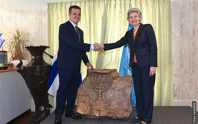 Israel's ambassador to UNESCO, Carmel Shama-Hacohen, with cultural agency's director-general Irina Bokova, September 26, 2017 (Erez Lichtfeld)