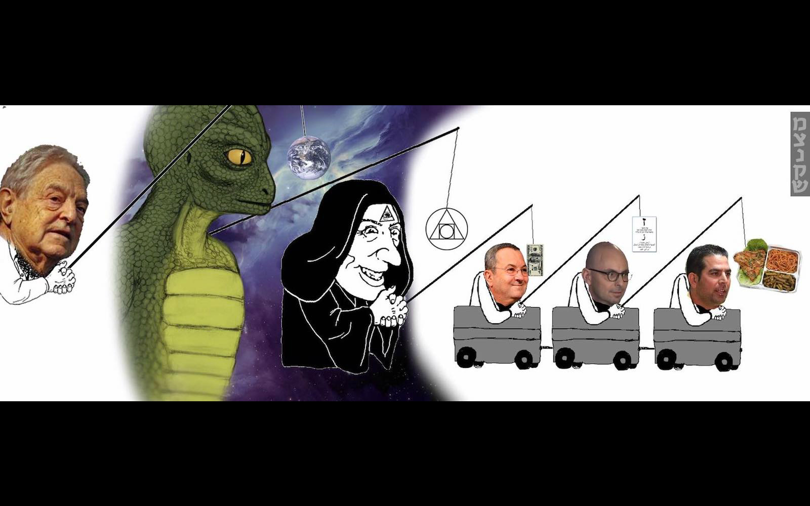 Alien reptile' and cloaked figure in Yair Netanyahu's meme