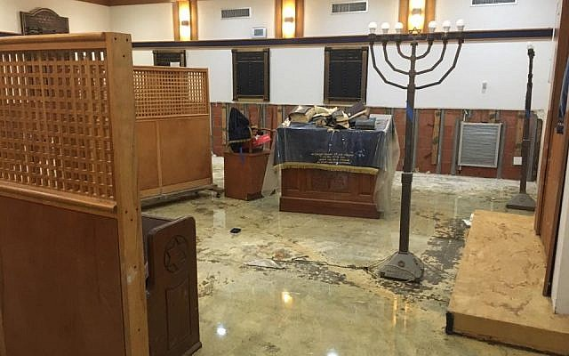 Illustrative photo of a synagogue in Houston, Texas, after Hurricane Harvey, on September 3, 2017. (Joshua Wander)