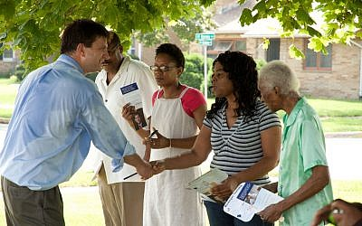 Brad Schneider, then a candidate for Congress in Illinois, greeting voters at the North Chicago Community Days Parade, August 6, 2011. (Courtesy Schneider for Congress)