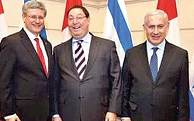 Former Canadian Prime Minister Stephen Harper, left, with Nathan Jacobson, center, and Prime Minister Benjamin Netanyahu (Canada PMO)