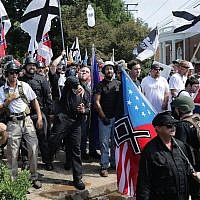 Hundreds of white supremacists and far-rightists on the outskirts of Emancipation Park during the Unite the Right rally in Charlottesville, Virginia, August 12, 2017. (Chip Somodevilla/Getty Images/JTA)