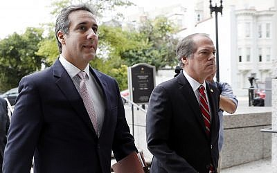 Michael Cohen, left, US President Donald Trump's personal attorney, arrives on Capitol Hill in Washington, September 19, 2017. (AP Photo/ Pablo Martinez Monsivais)