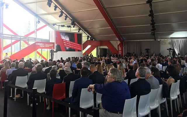 Former mayor Michael Bloomberg speaking at the opening of Cornell Tech, a collaboration between Cornell University and the Technion — Israel Institute of Technology, on New York's Roosevelt Island, September 13, 2017. (Josefin Dolsten, JTA)
